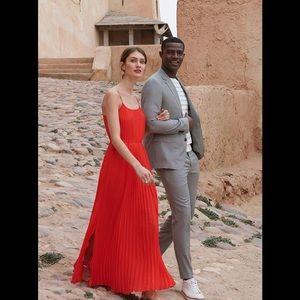 Banana Republic Red Pleated Maxi Dress Size 2